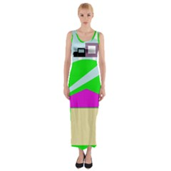 Abstract landscape  Fitted Maxi Dress