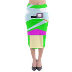 Abstract Landscape  Midi Pencil Skirt