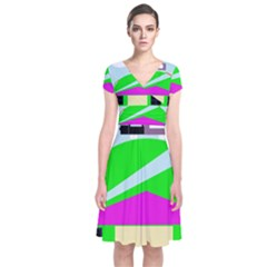 Abstract Landscape  Short Sleeve Front Wrap Dress
