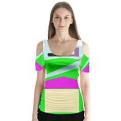 Abstract Landscape  Butterfly Sleeve Cutout Tee