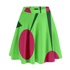Cherries  High Waist Skirt