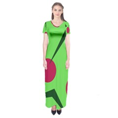 Cherries  Short Sleeve Maxi Dress