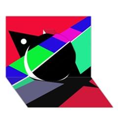 Abstract fish Circle 3D Greeting Card (7x5)