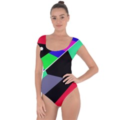 Abstract fish Short Sleeve Leotard
