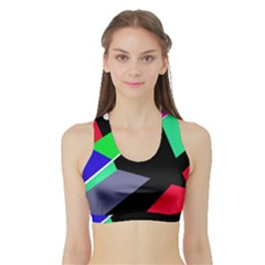Abstract fish Sports Bra with Border