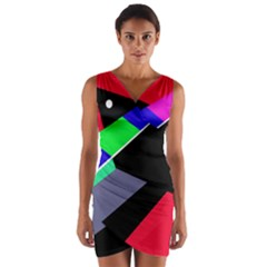 Abstract fish Wrap Front Bodycon Dress
