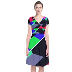 Abstract Fish Short Sleeve Front Wrap Dress