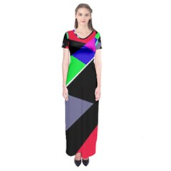 Abstract Fish Short Sleeve Maxi Dress