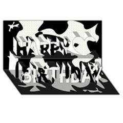 Black and white elegant design Happy Birthday 3D Greeting Card (8x4)