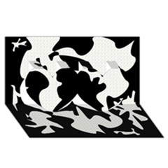 Black and white elegant design Twin Hearts 3D Greeting Card (8x4)