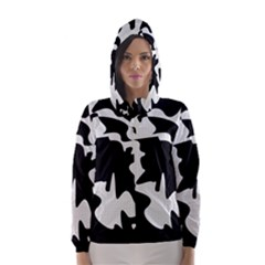 Black and white elegant design Hooded Wind Breaker (Women)