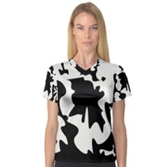 Black and white elegant design Women s V-Neck Sport Mesh Tee