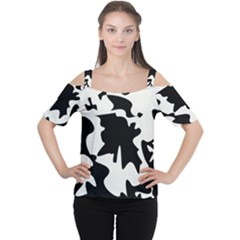 Black and white elegant design Women s Cutout Shoulder Tee