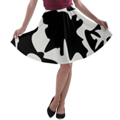 Black and white elegant design A-line Skater Skirt
