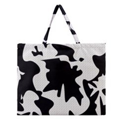 Black And White Elegant Design Zipper Large Tote Bag