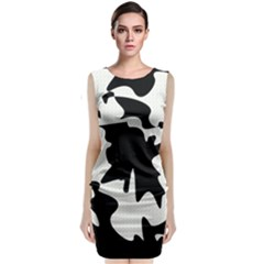 Black And White Elegant Design Classic Sleeveless Midi Dress