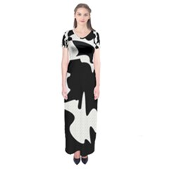 Black And White Elegant Design Short Sleeve Maxi Dress