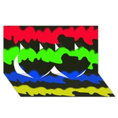 Colorful abstraction Twin Hearts 3D Greeting Card (8x4)