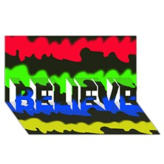 Colorful abstraction BELIEVE 3D Greeting Card (8x4)