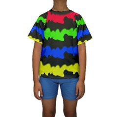 Colorful Abstraction Kid s Short Sleeve Swimwear