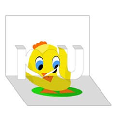 Cute chicken  I Love You 3D Greeting Card (7x5)