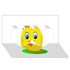 Cute chicken  Twin Hearts 3D Greeting Card (8x4)