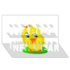 Cute chicken  Happy New Year 3D Greeting Card (8x4)