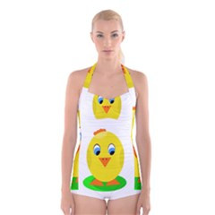 Cute Chicken  Boyleg Halter Swimsuit