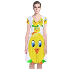 Cute Chicken  Short Sleeve Front Wrap Dress