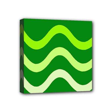 Green waves Mini Canvas 4  x 4