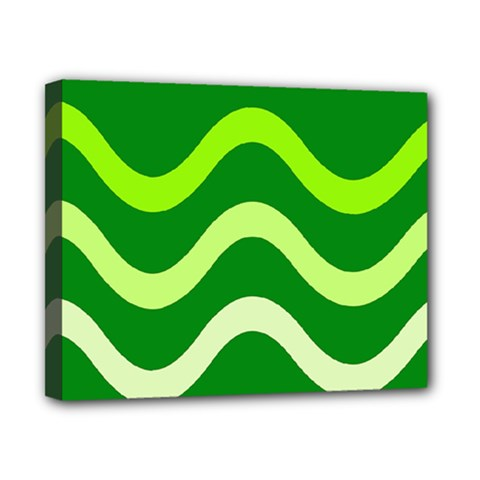 Green waves Canvas 10  x 8