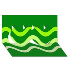 Green waves Twin Hearts 3D Greeting Card (8x4)