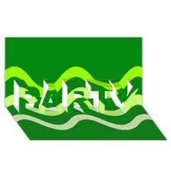 Green waves PARTY 3D Greeting Card (8x4)
