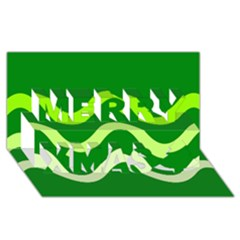 Green waves Merry Xmas 3D Greeting Card (8x4)