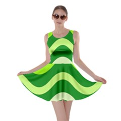 Green waves Skater Dress