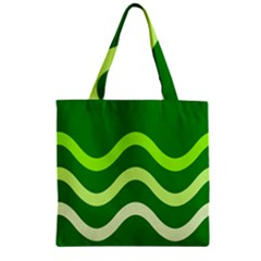 Green waves Zipper Grocery Tote Bag