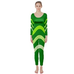 Green waves Long Sleeve Catsuit