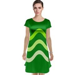 Green waves Cap Sleeve Nightdress