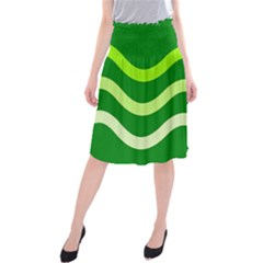 Green waves Midi Beach Skirt