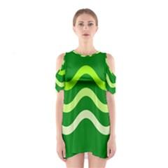 Green Waves Cutout Shoulder Dress