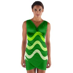 Green waves Wrap Front Bodycon Dress