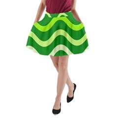 Green Waves A Line Pocket Skirt
