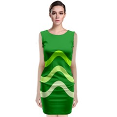 Green Waves Classic Sleeveless Midi Dress