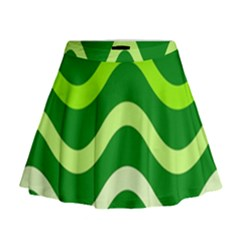 Green Waves Mini Flare Skirt