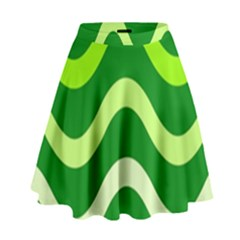 Green Waves High Waist Skirt