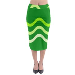 Green Waves Midi Pencil Skirt