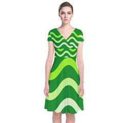 Green Waves Short Sleeve Front Wrap Dress