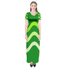 Green Waves Short Sleeve Maxi Dress