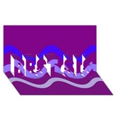 Purple Waves BEST SIS 3D Greeting Card (8x4)