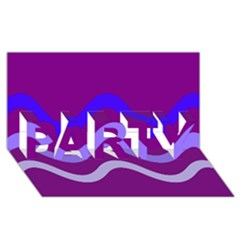 Purple Waves PARTY 3D Greeting Card (8x4)